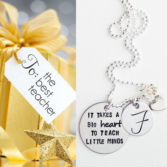 It Takes a Big Heart to Teach Little Minds Necklace - Christmas Gift - Teacher Appreciation Gift - Teacher End of Year Gift on Etsy, $35.00