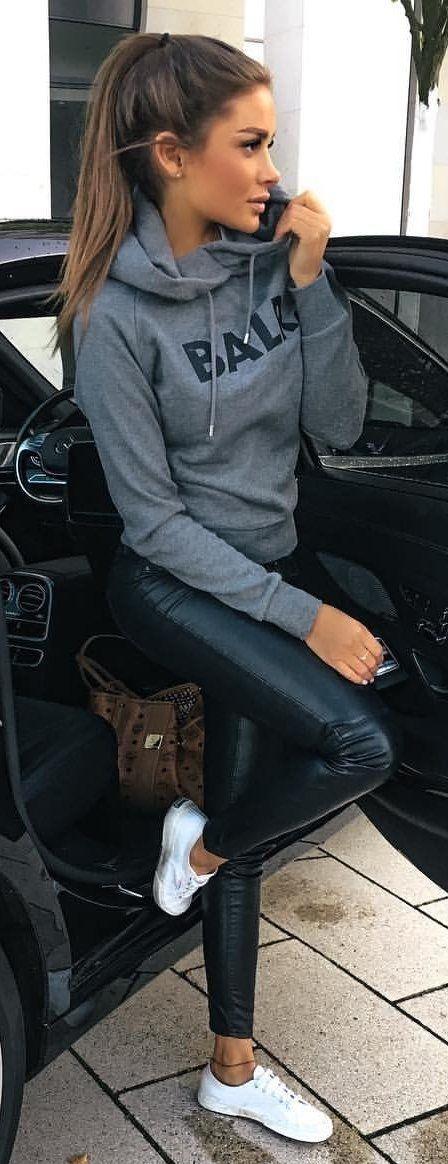 casual cute baller baby in leather leggings