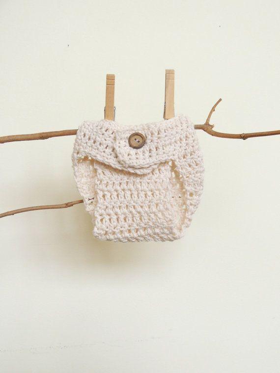 Crochet Diaper Cover, Baby Shower, New Baby Gift, Ivory Diaper Cover, Baby Girl, Baby Boy, Newborn, Adjustable, Photo Prop, Under 15