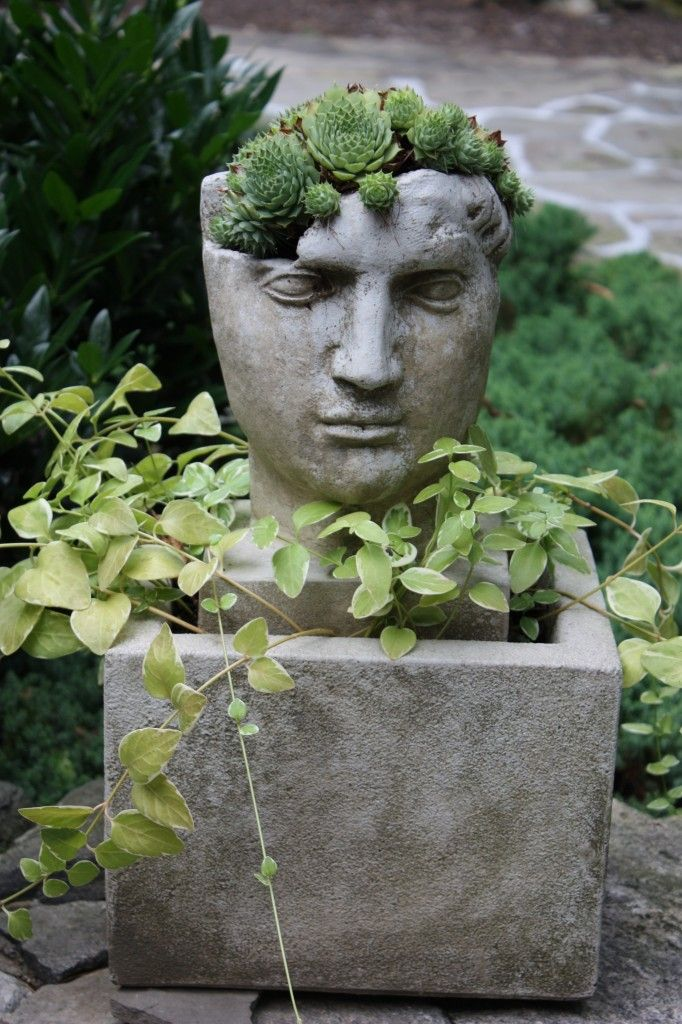The Artful Garden Pot Heads Stone Face Planters