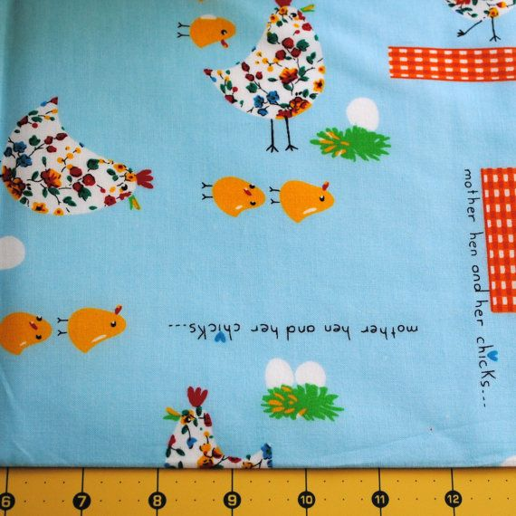Fat Quarter Pair OOP Easter Mother Hen and Chicks Fabric on Etsy, $6.00