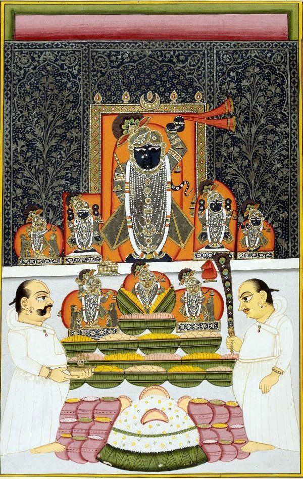 Nathdwara Srinathji at representing the autumn Annakuta Festival. late 18th century.