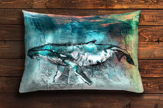 cushion cover whale pillow case blue pillowcase ocean by AWildLife