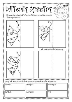 This worksheet provides practice in symmetry and shape recognition. Students use 2-dimensional shapes to create the other half of symmetrical butte...