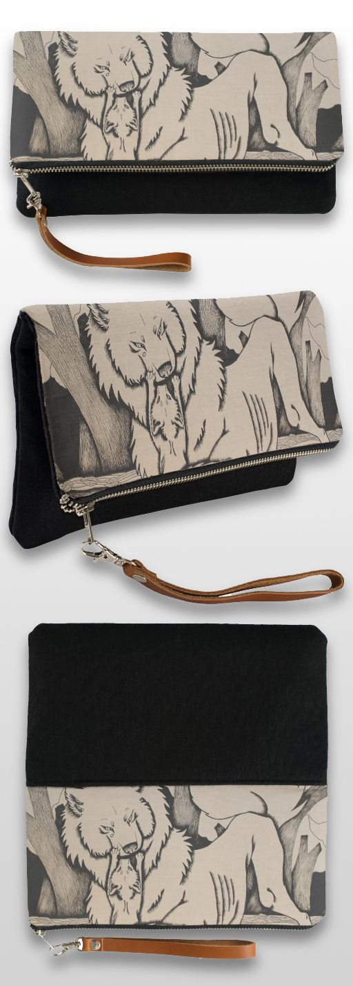 """Play Date"" Black And White Illustrated Wolf Clutch Bag #products #art #illustration #gifts"
