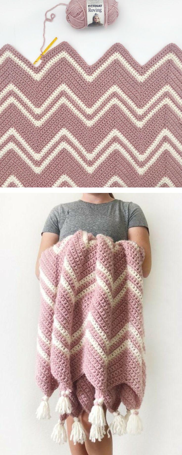 Kostenlose Anleitung – Crochet Pink Chevron Throw