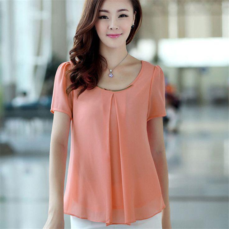 2015 Plus Size Summer Fashion Women Blouse Solid Chiffon Blouse Plus Size Casual Lady Tops Blusas Shirts