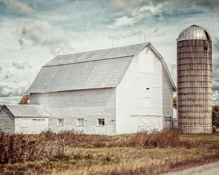 A lovely old white barn photographed in upstate new york