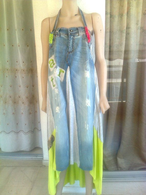 Vintage 90s one of a kind jean and patch wear dress by Lionsoul, €100.00 Just very unique!!!