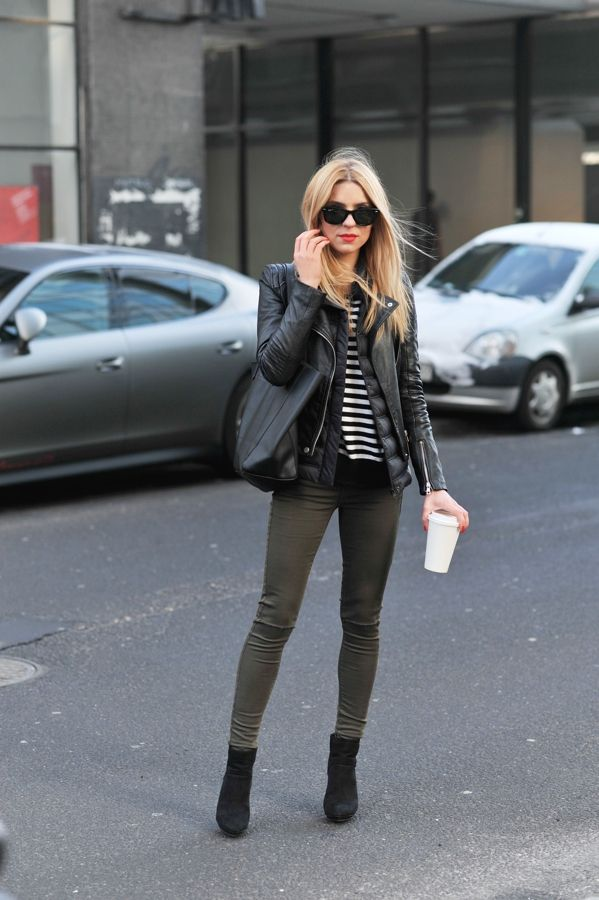 leather jacket and olive jeans