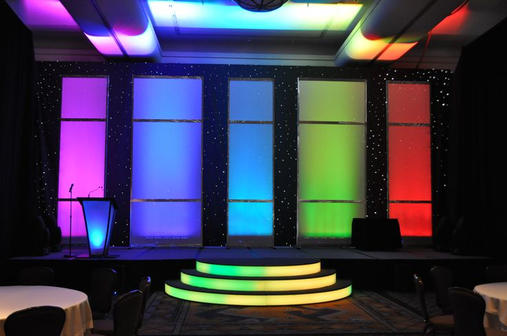 A multi-colored lighted stage. Even the steps glow!