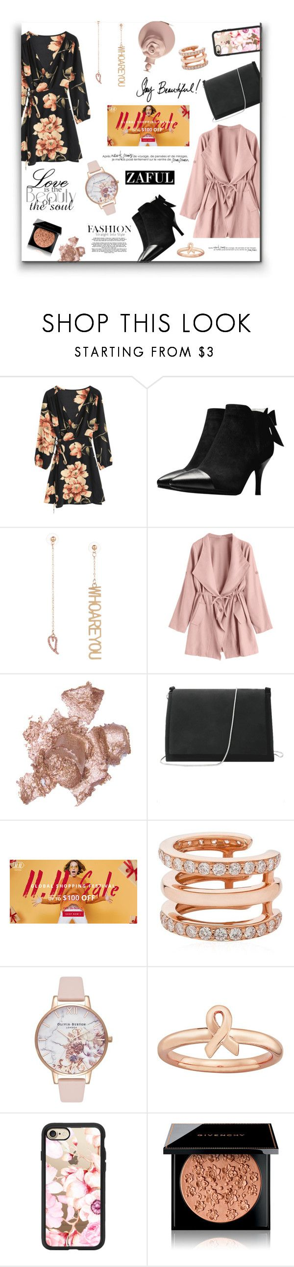 """11/11 Zaful Sale - Floral trend"" by jaystilo ❤ liked on Polyvore featuring By Terry, Sarah Noor, Olivia Burton, Stacks and Stones, Casetify, Givenchy, Valentino, floral, Pink and black"