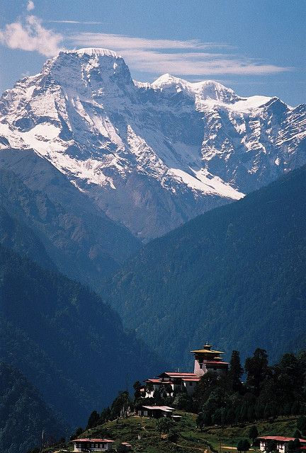 Gasa Dzong Monastery at the shadow of the Himalayas in northern Bhutan