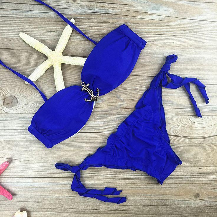 2017 Navy Anchor Bikini conjunto Playa de Baño Beadeau traje de Baño Mujer trajes de Baño Traje de baño Brasileño Bottom Color Azul Maillot De Bain Vs | 32717972002_pl