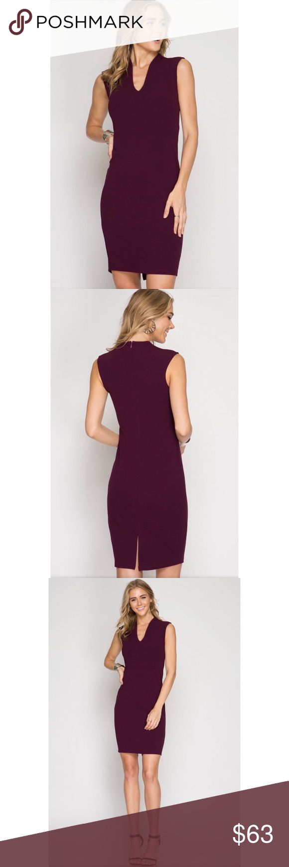 Midi Bodycon Dress Heavy knit midi bodycon dress with a beautiful neckline. Back zipper. Has a little bit of stretch.   From keybops.shop  Model is 5'11.  Color: Plum.  60% cotton, 40% rayon. She and Sky Dresses Midi