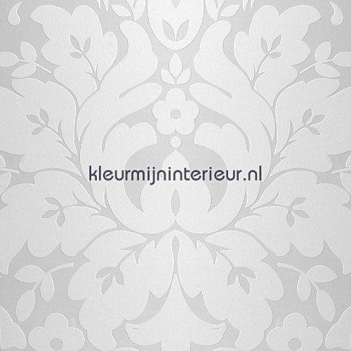 Klassiek wit metallic zwart wit behang
