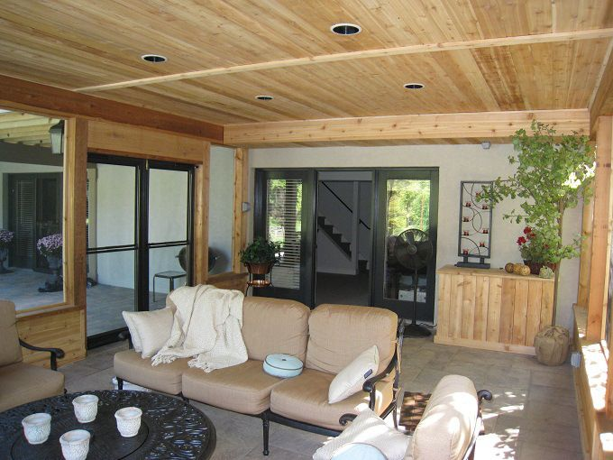 Cedar Screened Porch Interior Screen Porch With Finished