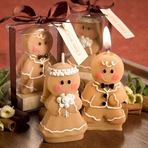 Gingerbread Bride and Groom Candles: Wedding Favors, Gingerbread Bride, Groom Candle, Wedding Ideas, Candles, Brides, Candle Favors, Grooms, Bride Groom