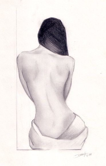 This is pencil drawing I did of using a live model. I just find the form of a females back to be mesmerizing and wanted to capture that. Enjoy.