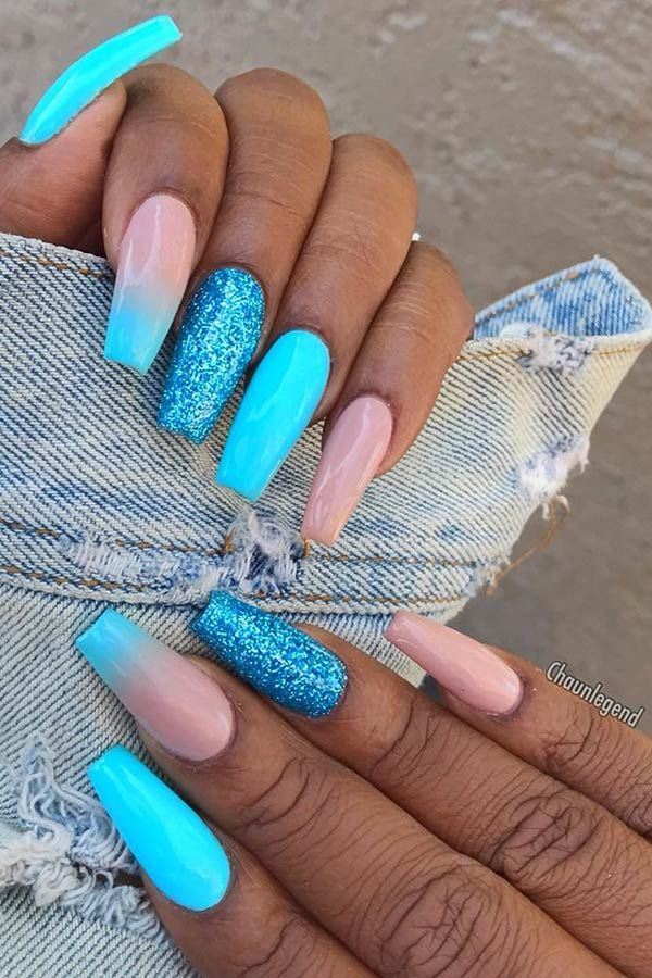 23 Blue Ombre Nails And Ideas We Re Trying Asap Page 2 Of 2 Stayglam In 2020 Glitter Gel Nails Blue Ombre Nails Summer Gel Nails