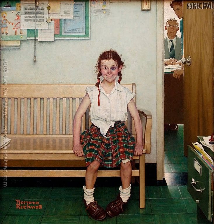 Girl with Black Eye - oil on canvas, 34x30 by Norman Rockwell 1953 : Art