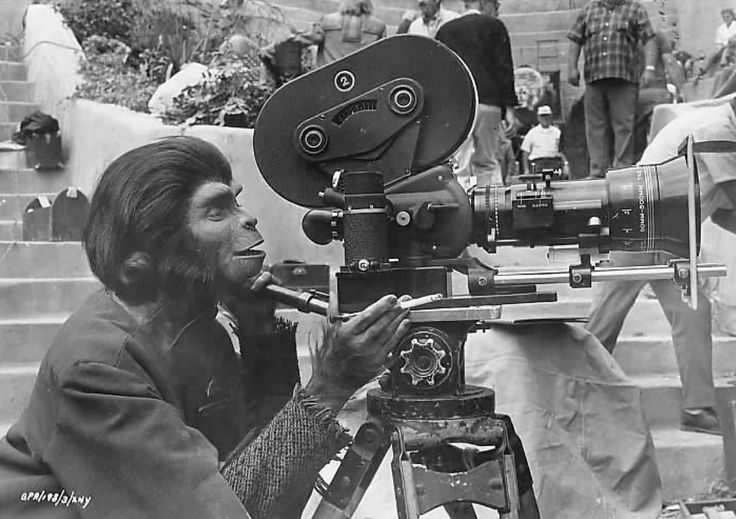 Kim Hunter as 'Zira' on the set of Planet of the Apes (1968)