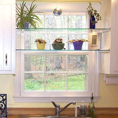 This might work well to keep Cyro out of my plants ... so maybe I could keep a few at home? Use quarter-round molding for instant, easy glass shelving. | 25 Cheap And Easy DIYs That Will Vastly Improve Your Home