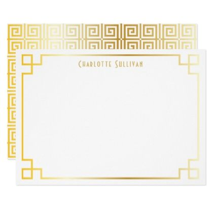 Faux Gold Foil Greek Key Border Custom Stationery Card - girly gifts girls gift ideas unique special