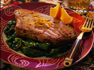 Pan Seared Tuna Steaks on Spinach a la Baja | Cookstr.com