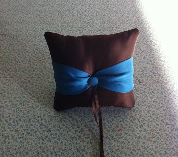 Chocolate Brown with Teal  Accent Button  by sashesforlove on Etsy, $15.00