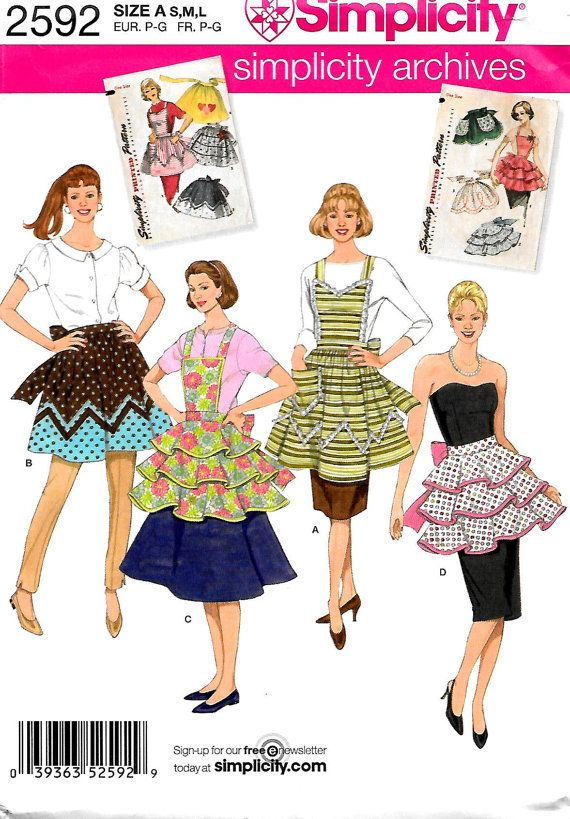This is a reprint from the Simplicity Archives combining two retro apron patterns from the 50s. Reminiscent of Sunday dinner at grandmas when she spent the whole day cooking and cleaning up in this style of apron. ♥ Love you Grandma W ♥ Simplicity 2592 ... Misses apron sewing