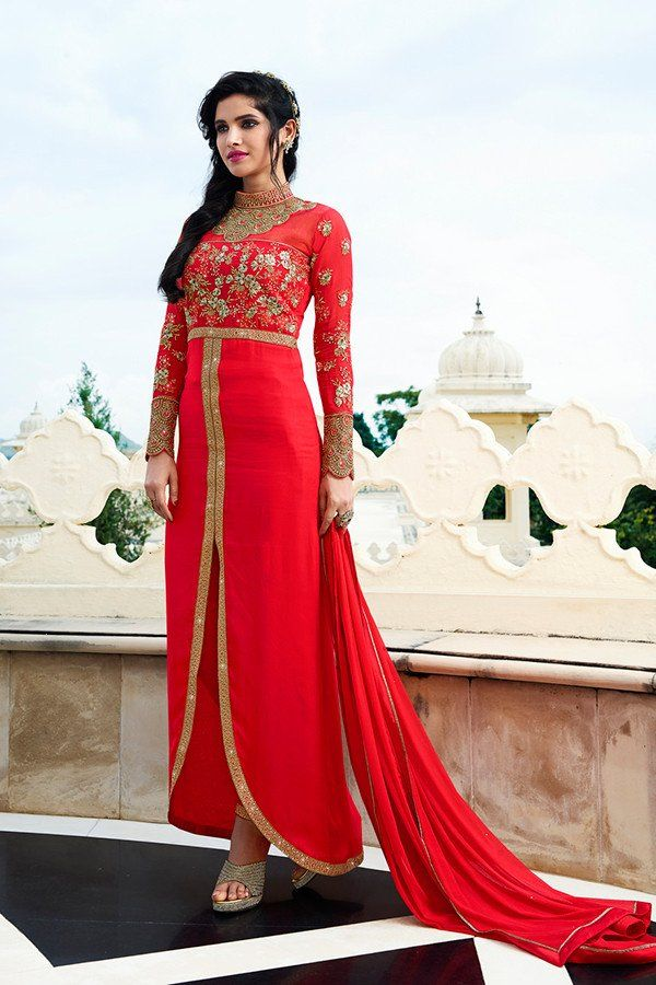 Red Color Georgette Fabric Salwar Suit