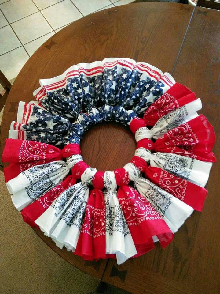 What A Cute Wreath Made From Bandanas Found At Walmart