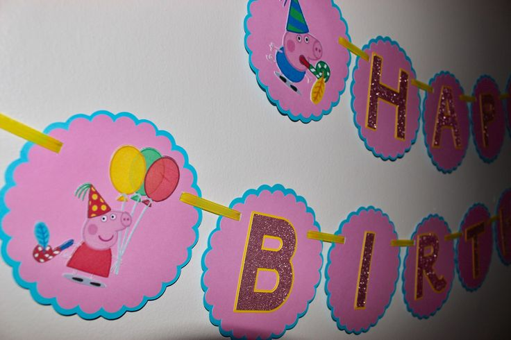 Peppa Pig Birthday Banner, Peppa Pig, Peppa Pig Party, Peppa Pig Happy Birthday, Happy Birthday by OneofaKindDesignAA on Etsy https://www.etsy.com/ca/listing/509141627/peppa-pig-birthday-banner-peppa-pig