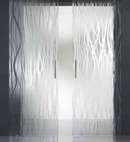 Frosted Glass Bathroom Doors  Manufacturer: St. Gobain Glass   Style: SGG Planilaque Evolution    -lacquered glass, coloured & opaque  -can be customized by cold-painting decorative patterns onto glass surface  -can be sandblasted and engraved