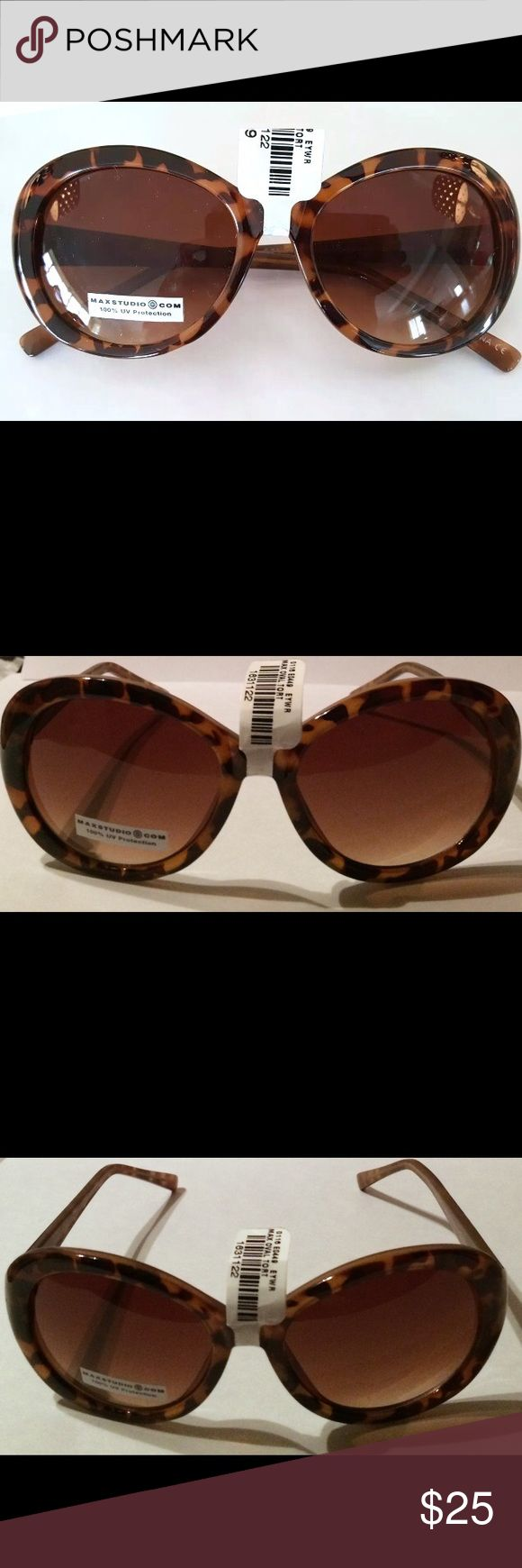 StudioM Max Studio Oval M852 Tortoise Sunglasses Protect your eyes with Designer Studio M by Max Studio Sunglasses, Retails $45, no case • Studio M by Max Studio Sunglasses • M852 • Frames: Plastic • Frame Color: Tortoise • Lens: Brown Gradient • 100% UV Protection • New With Tags • Frames: Plastic • Frame Color: Tortoise • Lens: Brown Gradient • 100% UV Protection • New With Tags Max Studio Accessories Sunglasses