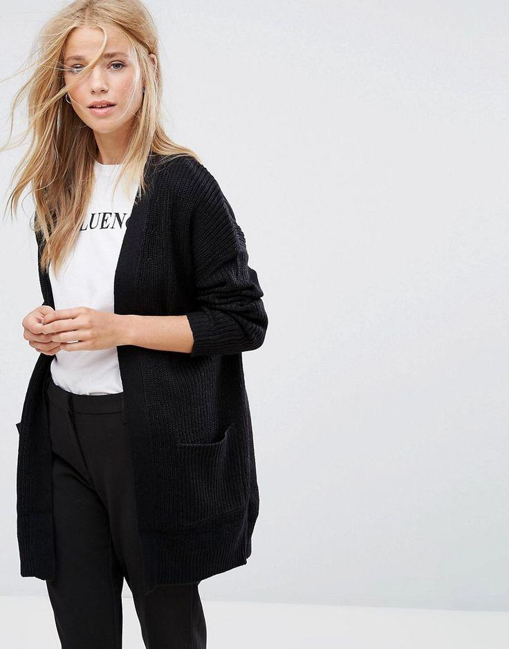 Pimkie - Lang geschnittene Jacke aus grobem Strick - Schwarz Jetzt bestellen unter: https://mode.ladendirekt.de/damen/bekleidung/jacken/sonstige-jacken/?uid=e6c156a4-130e-5bb9-8134-c7493584710f&utm_source=pinterest&utm_medium=pin&utm_campaign=boards #strickjacken #pullover #female #sonstigejacken #bekleidung #jacken