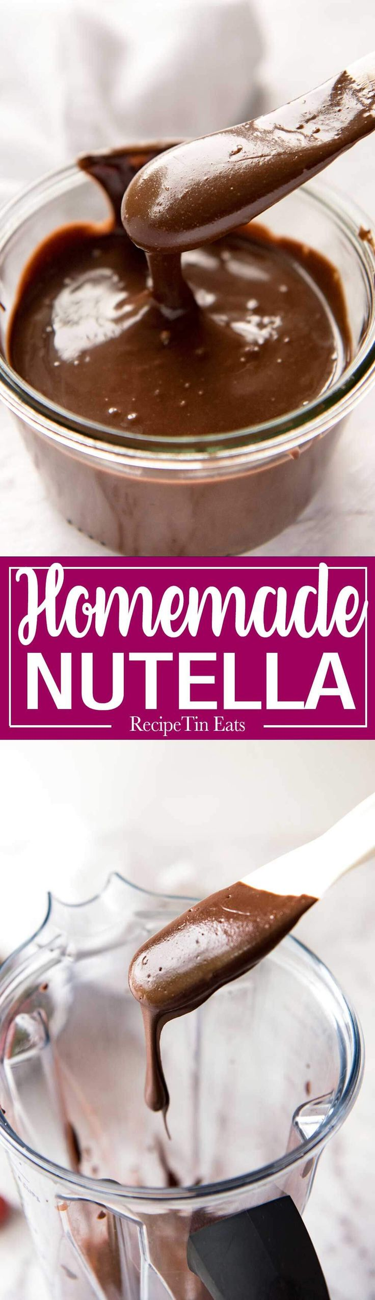 Homemade Nutella - Just hazelnuts, cocoa powder, confectionary / icing sugar, oil, vanilla and your blender is all you need to make an incredible blender at home! www.recipetineats.com