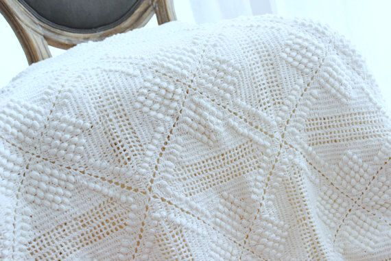 Vintage Hand  Crocheted Blanket  King size Bed White Wedding Gift Bedding Bed Linens Wedding Bedroom Decor by VintageHomeStories on Etsy