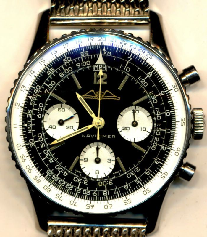 EXQUISITE STEEL VINTAGE BREITLING GOLD AOPA 1964 NAVITIMER 806 MILITARY