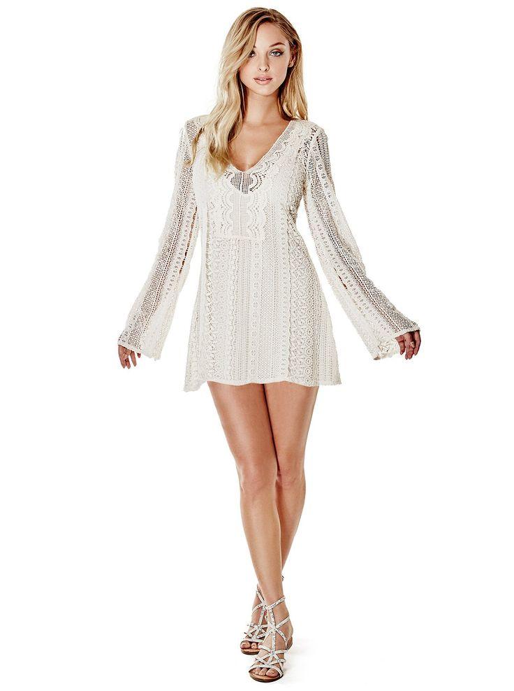 Adalina Long-Sleeve Crochet Dress at Guess