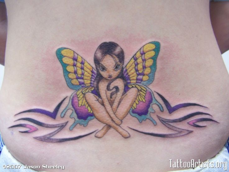 Colorful Fairy Tattoo On Lower Back