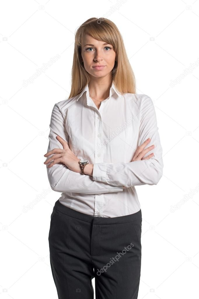 Portrait Of Young Business Woman White Shirt Black Trousers Pants Isolated Roya Sponsored Woman White Business P Business Women Black Trousers Women