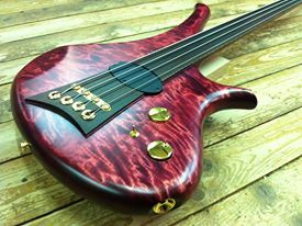 Marleaux Diva 4-string fretless bass... like the way the fretboard extends across the body and the way the pickup is incorporated