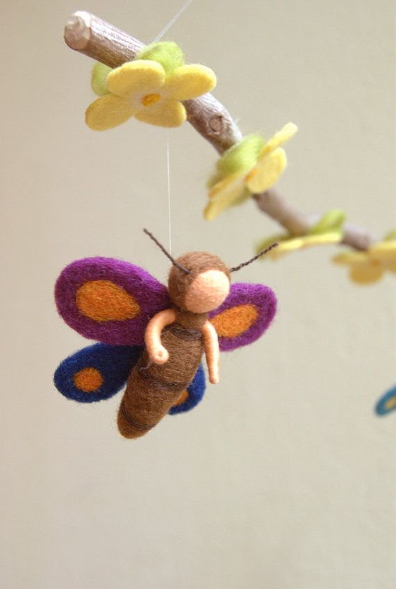 Butterfly mobile felted waldorf inspired by by byNaturechild