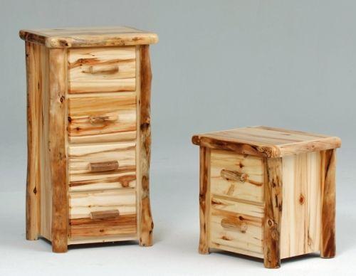 aspen log bedroom sets furniture chest drawers