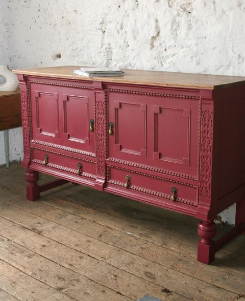 Red Antique Painted Dragon Dresser