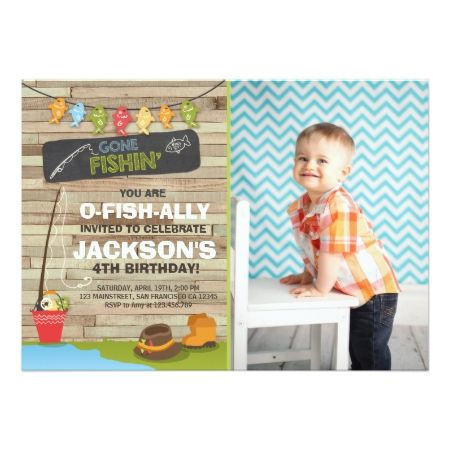Fishing Birthday Invitation Wood Fishing party - tap, personalize, buy right now!