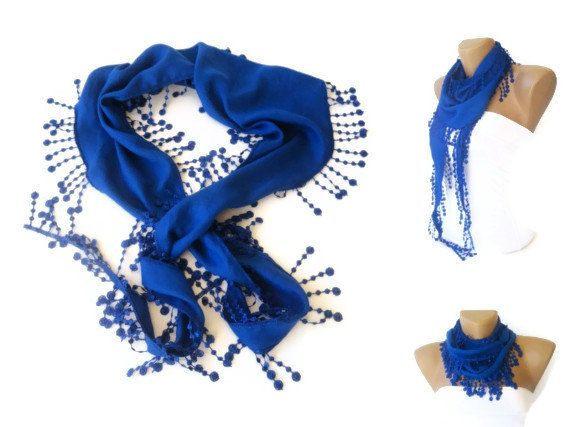 Royal Blue Pashmina Scarf with Trim Edge by scarvesCHIC on Etsy, $15.00