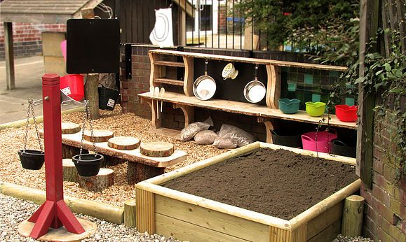 Mud Kitchen with, Balance Scales, Workstation, and Ingredients